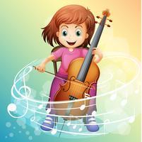 Menina, violoncelo jogando, cadeira