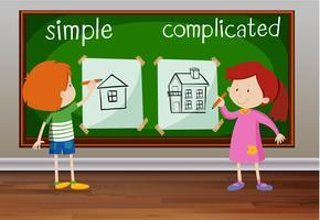 Palavras opostas para simples e complicado