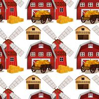Seamless background design with barn and wagons