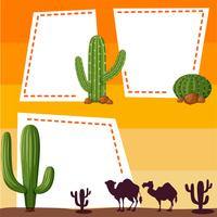 Border template with silhouette camels vector