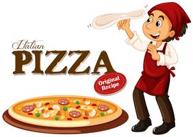 Chef making italian pizza