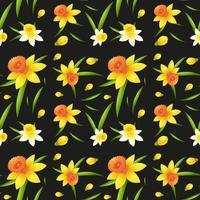 Seamless background design with daffodil flowers