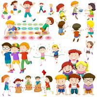 Children playing different kinds of games vector