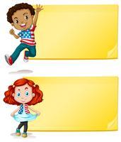 Création d'étiquettes avec des enfants et fond jaune