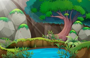 Escena del bosque con pozo de agua
