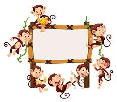 Modello di cornice con scimmie