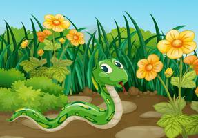 Serpiente verde en el jardin