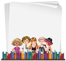 Plantilla de papel con hipsters y libros.