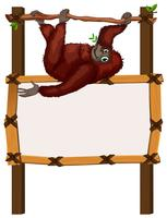 Border template with monkey on branch vector