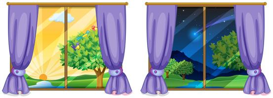 Two window scenes day and night