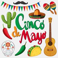 Cinco de mayo card template with mexican hat and food