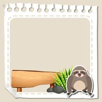 Paper template with cute sloth