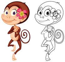 Djur skiss för söt apa