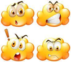 Nuages jaunes avec quatre émotions