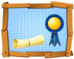 Wooden frame with blue ribbon and roll of paper