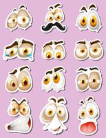 Sticker design with facial expressions vector