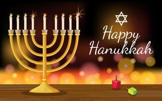 Modèle de carte Happy Hanukkah avec symboles et lumières