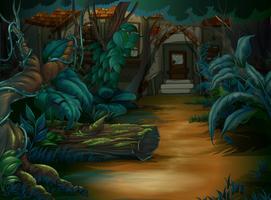 Spökat hus i den djupa skogen