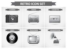 Icono retro en escala de grises