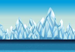 Sfondo con ghiacciaio e oceano