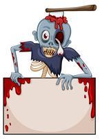 Een zombie met een leeg uithangbord