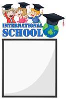 Modello di confine con i bambini della scuola internazionale