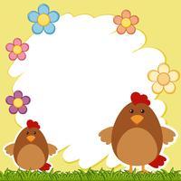 Modèle de bordure avec deux poulets