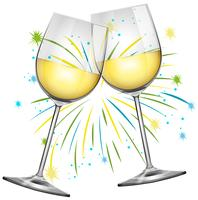 Dois copos de vinho e fundo de fogo de artifício