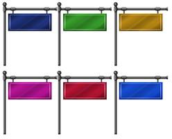 Six colorful signboards