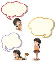 Speech bubbles and little girl