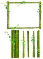 Marco de bambú verde y palos