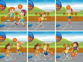 Boys and girls playing basketball