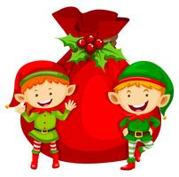 Christmas theme with two elves and red bag