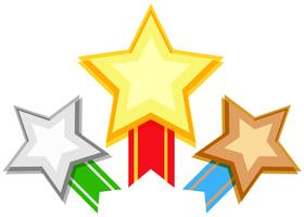 Award design with stars and ribbon vector