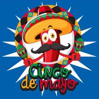 Cinco de mayo card template with chili wearing hat