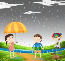 Três crianças na chuva
