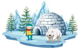 Arctic scene with boy and polar bear by igloo
