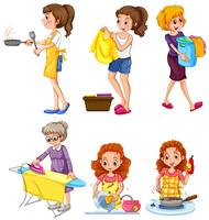 Women doing different chores vector