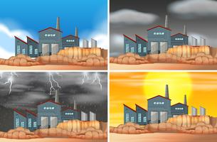Conjunto de escenas de edificios industriales.