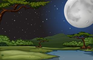 Scena della natura nella notte di luna piena