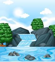 Bakgrundsscen med vattenfall och träd
