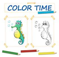 Plantilla para colorear con lindo caballito de mar