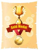 Gold medal and trophy on poster