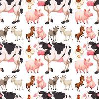 Naadloze achtergrond met landbouwhuisdieren