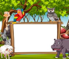Board template with wild animals in the woods