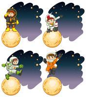 Les astronautes debout sur la lune