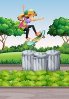 Scena con ragazza su skateboard nel parco