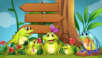 Wooden sign and green frogs in the park