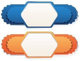 Etikettdesign i blå och orange färg