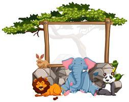 Cadre en bois avec des animaux sauvages